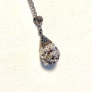Eleganza 18k/ 925 SS/ 1/8ct Diamond tear drop